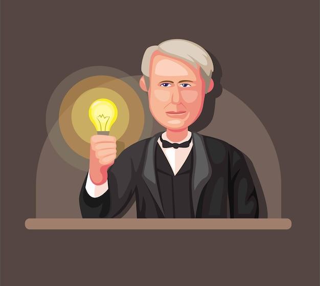 Illustratie van thomas alva edison, de uitvinder van het concept van gloeilamp en stroomgenerator in cartoon afbeelding