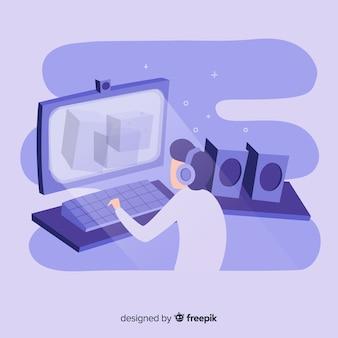 Illustratie van tienergamer het spelen videospelletjes op bureaucomputer
