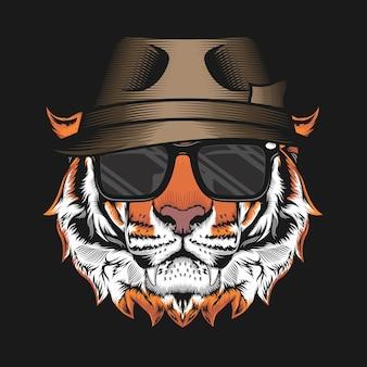 Illustratie van tiger head met hat gedetailleerde vector ontwerpconcept vector