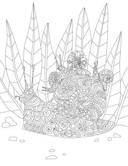 Illustratie van toegewijde moederslak die haar kleine baby's op hun huis vanuit het bos draagt