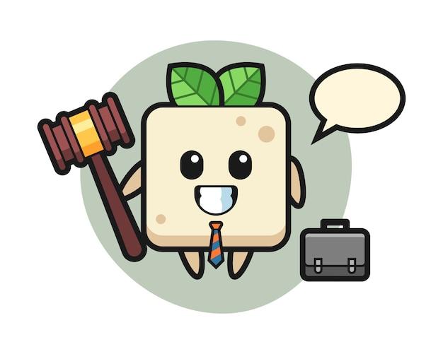 Illustratie van tofu mascotte als advocaat, schattig stijlontwerp voor t-shirt