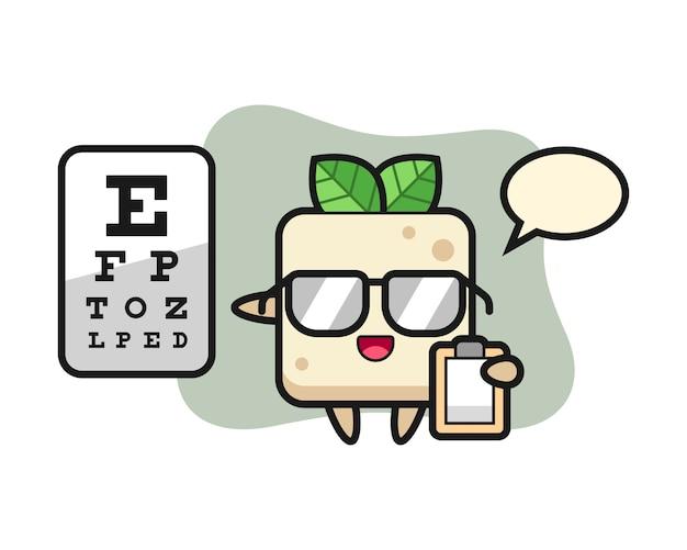 Illustratie van tofu mascotte als een oogheelkunde, schattig stijlontwerp voor t-shirt