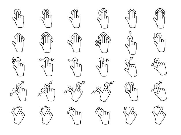 Illustratie van touchscreen handen gebaar in dunne lijn