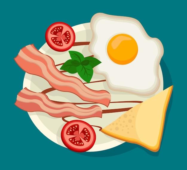 Illustratie van traditioneel engels ontbijt inclusief gebakken ei