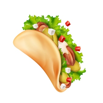 Illustratie van traditionele mexicaanse taco met vlees en groenten