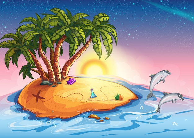 Illustratie van treasure island in de oceaan en dolfijnen
