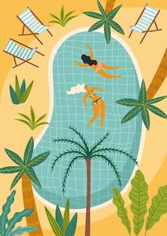 Illustratie van tropisch strand en zwembad