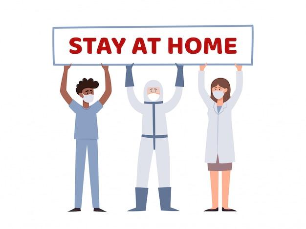 Illustratie van twee artsen en verpleger bedrijf poster blijf thuis geïsoleerd op wit. europese en afrikaanse gezondheidswerkers in preventiemaskers tegen stedelijke luchtverontreiniging, coronavirus.