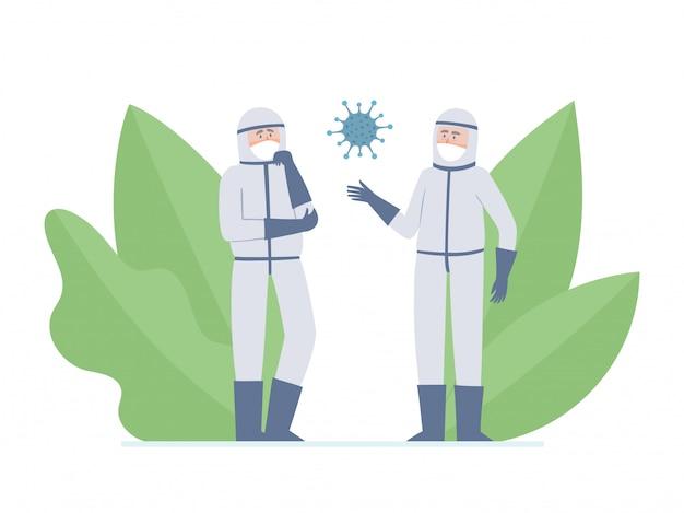 Illustratie van twee artsen - wetenschappers en coronavirus geïsoleerd op wit. denkende medische werkers in preventiemaskers tegen stedelijke luchtverontreiniging, coronavirus en decoratieve planten