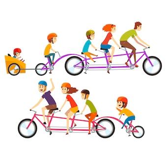 Illustratie van twee gelukkige families die op grote fiets achter elkaar berijden. grappige recreatie met kinderen. mensen stripfiguren met lachende gezichten uitdrukkingen.