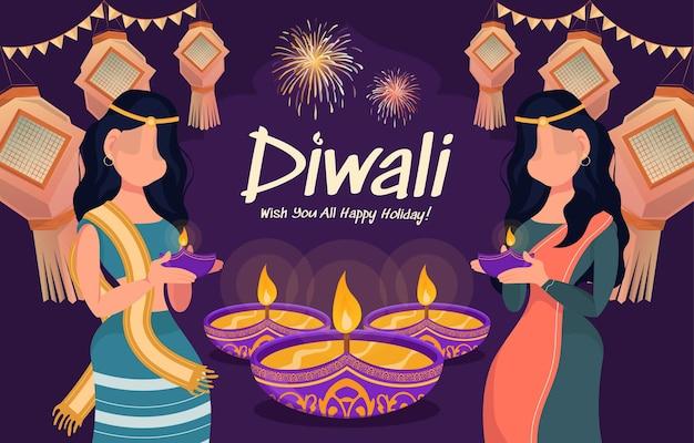Illustratie van twee gelukkige vrouwen die olielampen vasthouden en traditionele kostuums dragen voor de viering van het diwali-festival met lantaarns en vuurwerk op de achtergrond.
