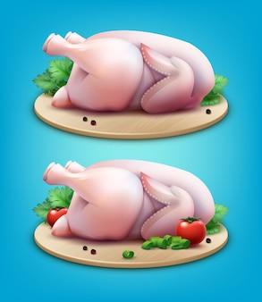 Illustratie van twee hele rauwe kippen met peperkorrels, greens en tomaten op houten snijplank op blauwe achtergrond
