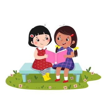 Illustratie van twee kleine meisjes die op de bank zitten en samen boek lezen.