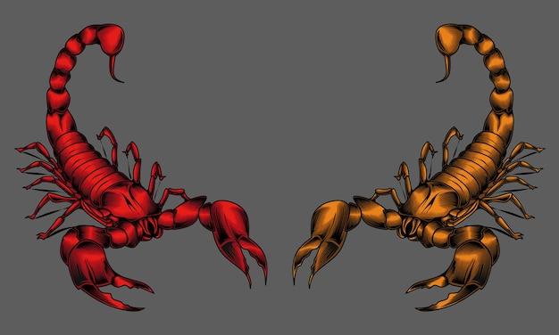 Illustratie van twee mascottes van de schorpioenkoning