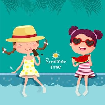 Illustratie van twee meisjes die ijs en watermeloen eten bij het zwembad