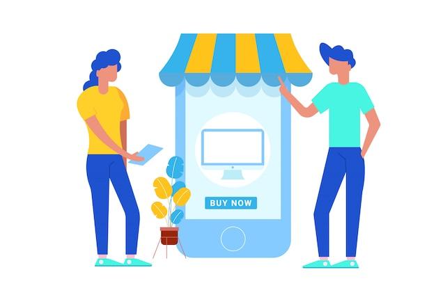 Illustratie van twee mensen met behulp van grote smartphone om online te winkelen