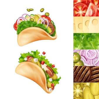 Illustratie van twee mexicaanse taco's met verschillende ingrediënten
