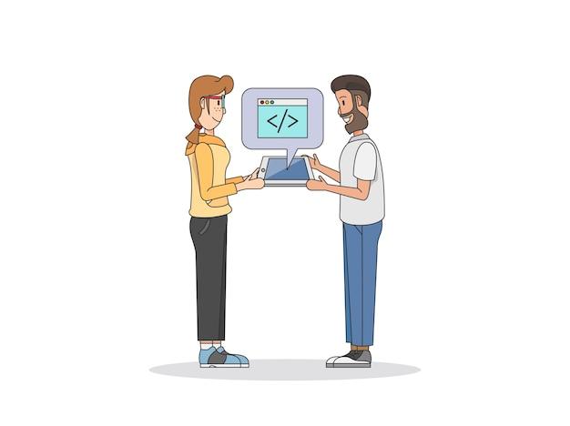 Illustratie van twee programmeurs
