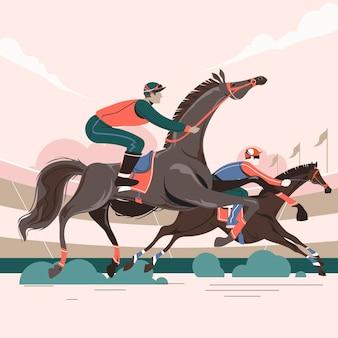 Illustratie van twee racepaarden in actie die met elkaar concurreren