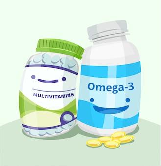 Illustratie van twee schattige flessen vitamines en mineralen