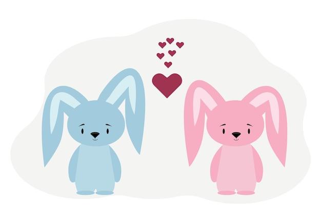 Illustratie van twee schattige konijntjes jongen en meisje in de buurt van harten.