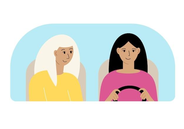 Illustratie van twee vrouwen in de auto achter de voorruit.