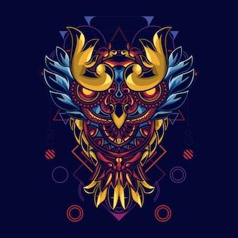 Illustratie van uilen met mandala-ornamenten