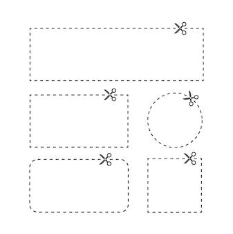 Illustratie van uitgesneden coupon met onderbroken lijn en schaar in verschillende vorm blanks witte couponranden reclamecoupon gesneden uit een vel papier