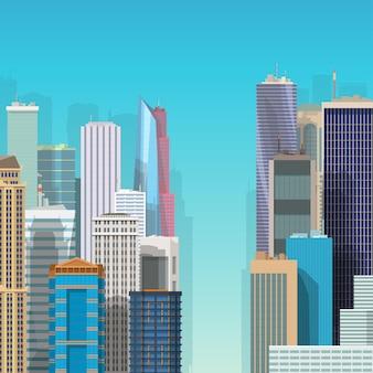 Illustratie van uitzicht op veel kleurrijke moderne wolkenkrabbers op blauwe lucht