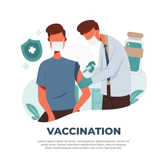 Illustratie van vaccinaties om de pandemie van het coronavirus te bestrijden