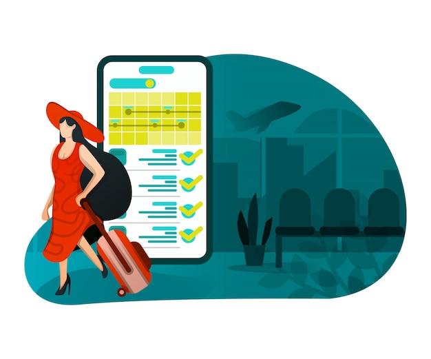 Illustratie van vakantie met technologie