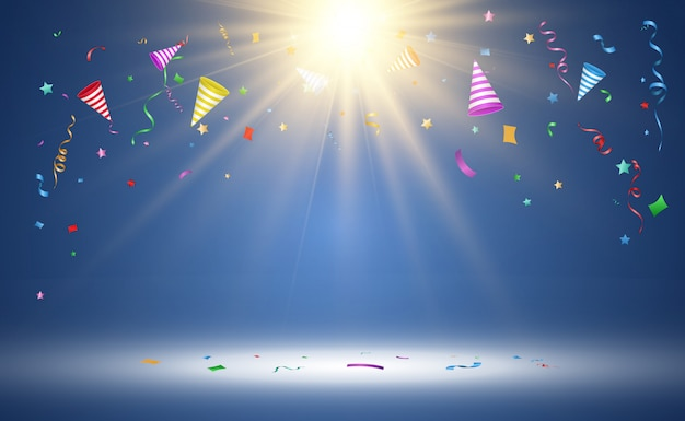 Illustratie van vallende confetti op een transparante achtergrond.