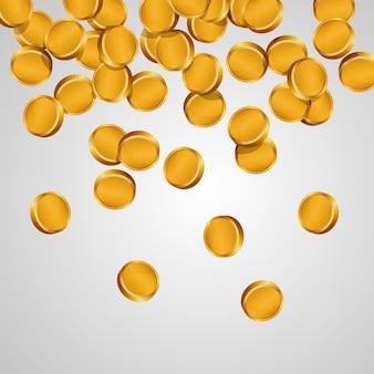Illustratie van vallende gouden munten. vector