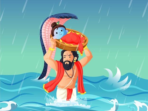 Illustratie van vasudev die heer krishna op zijn hoofd in een mand houdt
