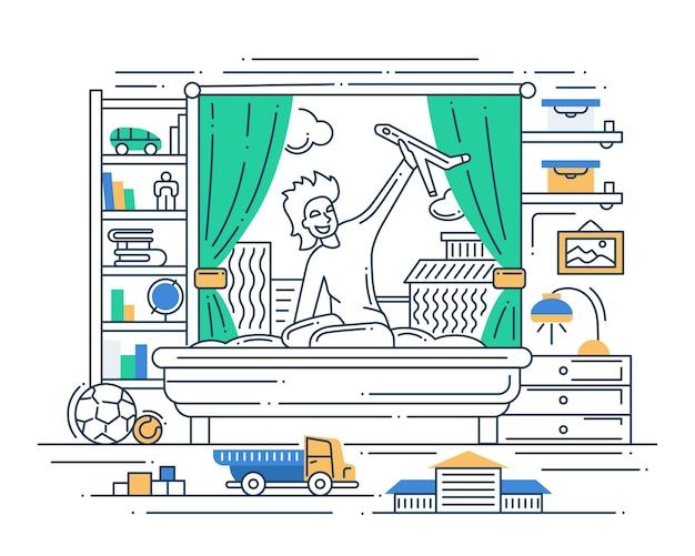Illustratie van vector moderne lijn platte ontwerp samenstelling en infographics elementen met een jongen spelen