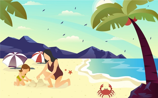 Illustratie van vector plat ontwerp van het geluk van een moeder spelen zandkasteel op het strand met haar kind om te genieten van de zomervakantie.