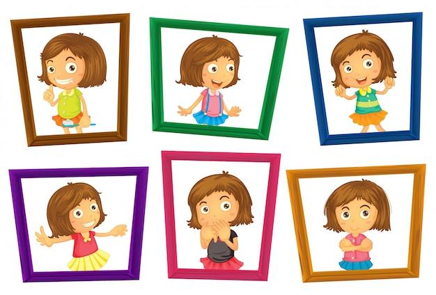 Illustratie van veel fotolijsten van een meisje