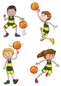 Illustratie van veel jongens en meisjes basketbal spelen