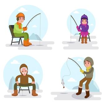 Illustratie van vele mensen die op het meer in geïsoleerde wintertijd vissen