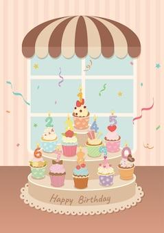Illustratie van verjaardagscupcakes met kaarsen van nummer 0 tot en met 9