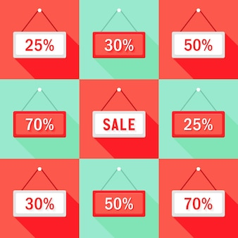 Illustratie van verkoop 25 30 50 en 70 % teken icons set