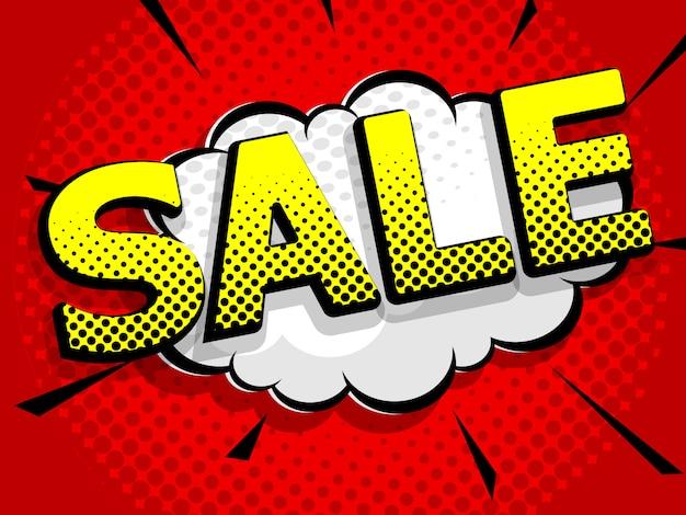 Illustratie van verkoop stripboek, popart vector achtergrond