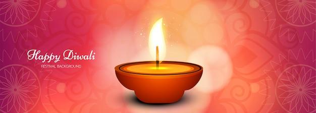 Illustratie van verlichte diwali festival banner of koptekst
