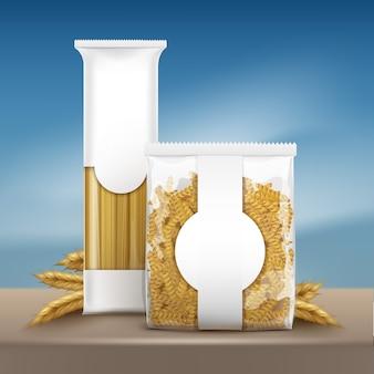 Illustratie van verpakking sjabloon pasta met spaghetti en spiraalvormige fusilli op bruine tafel met tarwe oren op blauwe hemelachtergrond