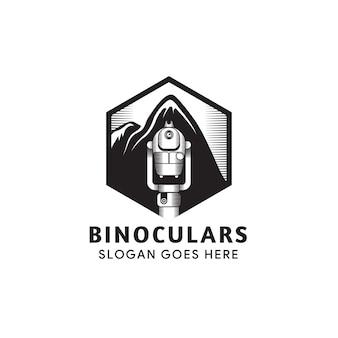 Illustratie van verrekijker pictogram geïsoleerd op een witte achtergrond. de combinatie van zeshoek, verrekijker en montering. zwarte kleur van logo ontwerpsjabloon.