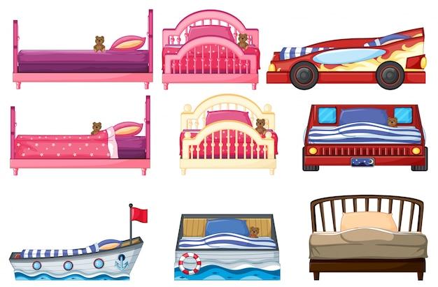 Illustratie van verschillende bed ontwerp
