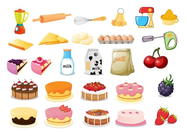 Illustratie van verschillende desserts