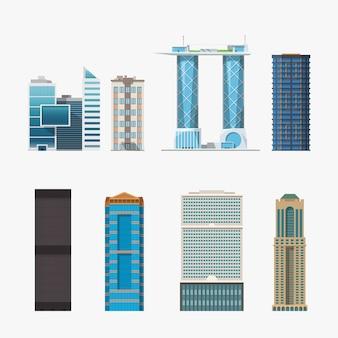 Illustratie van verschillende hoge gebouwen geïsoleerd in set op een witte achtergrond