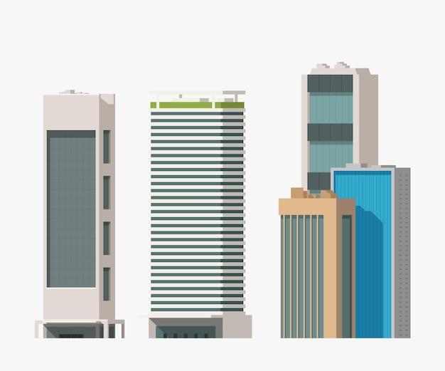 Illustratie van verschillende hoge gebouwen in reeks die op witte achtergrond wordt geïsoleerd