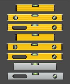 Illustratie van verschillende kleur en type hulpmiddelen van het constructieniveau die op grijze achtergrond worden geïsoleerd